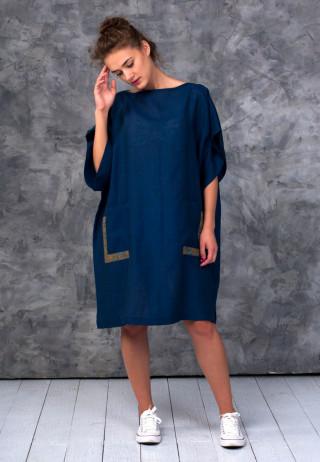 Платье-туника цвета грозового неба