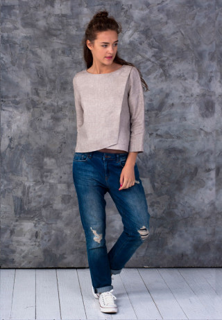 Блуза с запахом цвета латте