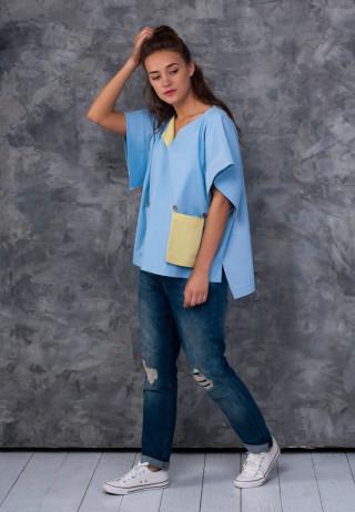 Туника-кимоно джинсовая цвета барвинка