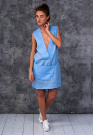 Dress-blue-with-pocket-bag-1