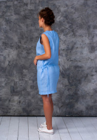 Dress-blue-with-pocket-bag-4