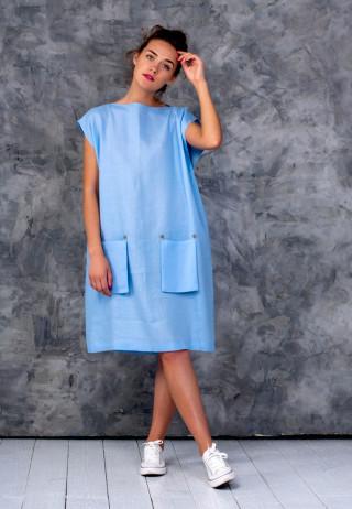 Платье-туника со съемными карманами цвета безоблачного неба