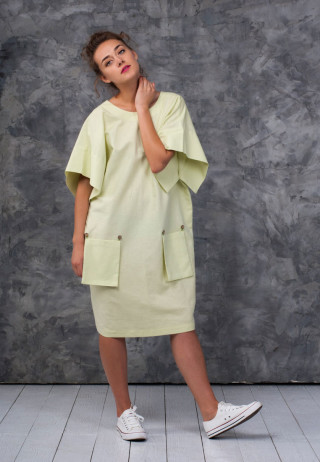Платье со съемными карманами цвета солнечного лайма