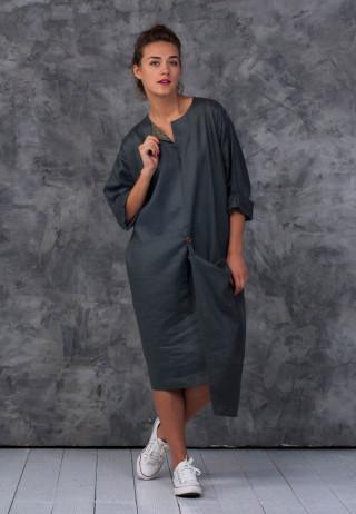 Платье бохо с асимметричным карманом цвета хаки