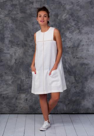 Платье с мережкой молочного цвета