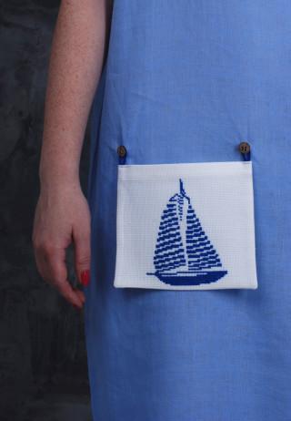 Съемный вышитый карман Парусник