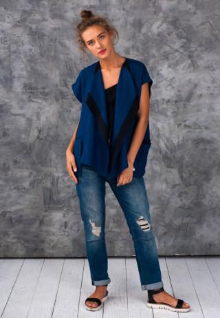 Jacket blue 2 320x462 - Жилет льняной с асимметричными карманами синего цвета