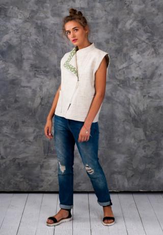 Jacket white 8 320x462 - Жилет-косуха льняная молочного цвета