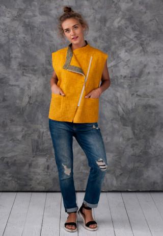 Jacket yellow 1 320x462 - Жилет-косуха льняная горчичного цвета