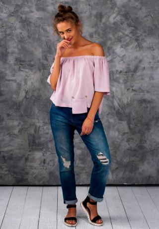 Top off the shoulders pink 2 320x462 - Топ с открытыми плечами бледно-розового цвета