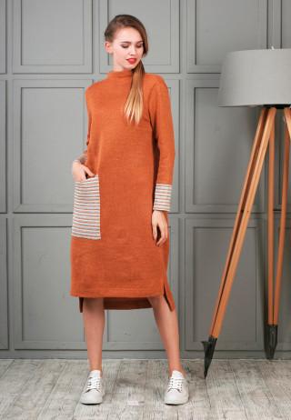 платье трикотажное кирпичного цвета с манжетами