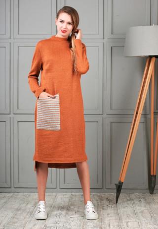 трикотажное платье кирпичного цвета