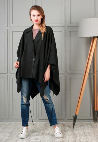Poncho black 1 320x462 - Пончо-пальто шерстяное черного цвета