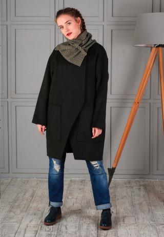 пальто шерстяное зеленое
