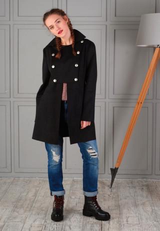 пальто милитари черное