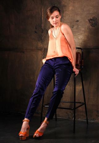 брюки металлизированные