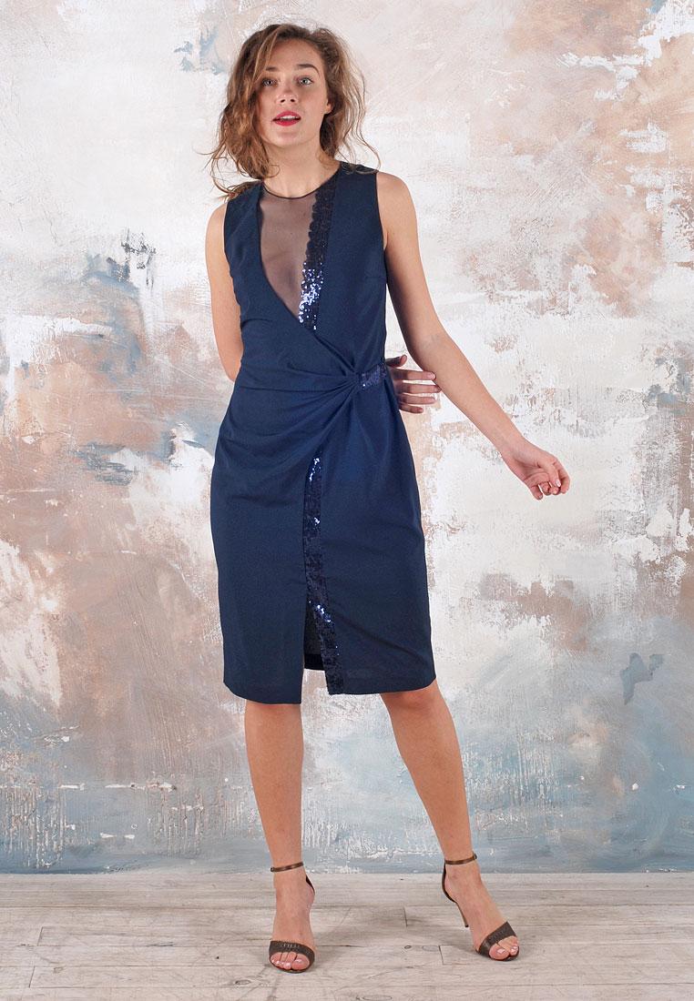 Шелковое платье с пайетками синего цвета - D.Sisters 882c767a55051